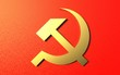 canvas print picture - Golden hammer and sickle on a red background. Soviet historical symbols of the socialism time, 3d render.