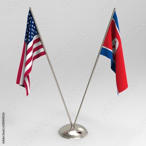 Fotomural  USA flag and North Korea flag