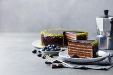 Chocolate Cake On A White Plat...