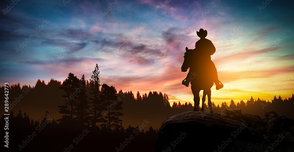 Fototapety, obrazy: Cowboy on a horse at sunset