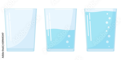 Fotografía Flat design three water glass icon set in cartoon style isolated on white background, full, half and empty soda glass