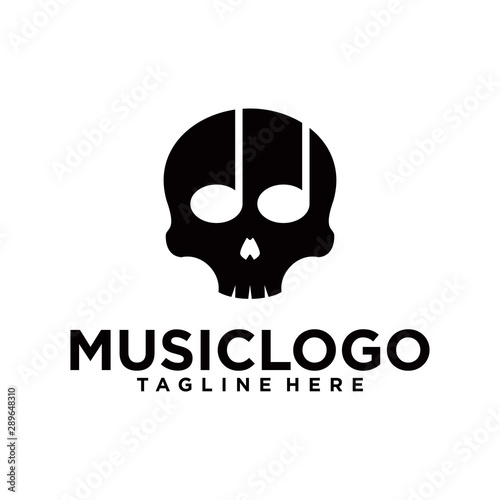 Head skull with Music Notes Vector illustration Tablou Canvas
