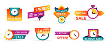 Set Of Sale Countdown Badges And Stickers. Last Minute Offer Banner, One Day Sales And 24 Hour Sale. Shopping Limited Time Offer. Collection Best Deal Badge Isolated Vector.