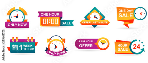 Obraz na plátně Set of sale countdown badges and stickers