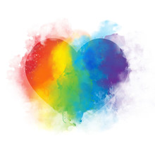 Watercolor Art Rainbow Heart -...