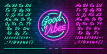Neon Futuristic Font, Luminous Blue And Pink Uppercase And Lowercase Letters, Colorful Bright Neon Hand Drawn Typeface, Glowing Sign Good Vibes, Vector Illustration