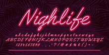 Neon Light Alphabet Font, Red ...