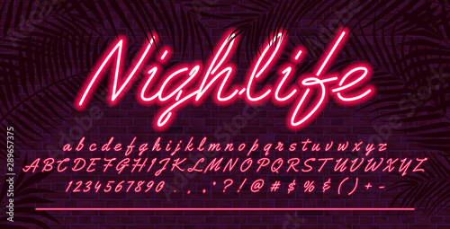Stampa su Tela  Neon light alphabet font, Red glowing hand drawn uppercase and lowercase letters