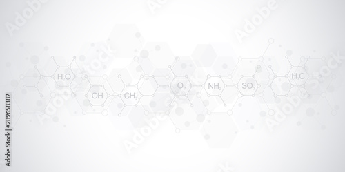 Stampa su Tela  Abstract chemistry pattern on soft gray background with chemical formulas and molecular structures
