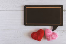 Flat Lay Of Black Blank Speech Bubble Wooden Sign On White Marble Background With Red And Pink Hearts. Concept Of Couple, Family, Friend, Lover And Valentine. Love Photo Frame