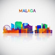 Malaga Skyline Silhouette In C...