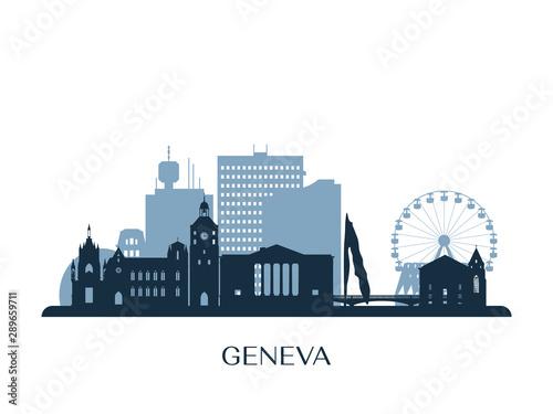 Carta da parati Geneva skyline, monochrome silhouette. Vector illustration.