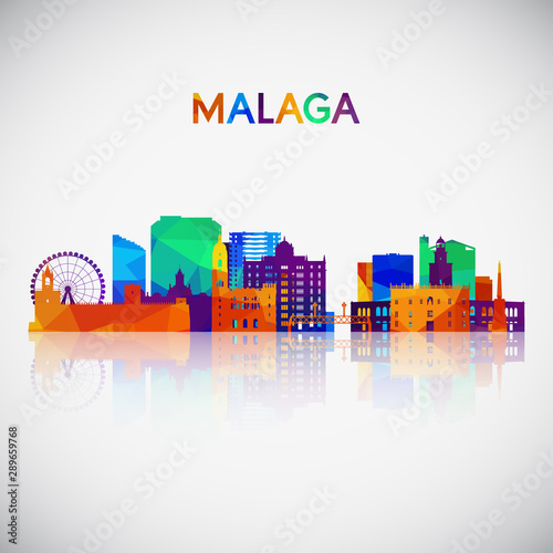 Malaga skyline silhouette in colorful geometric style. Symbol for your design. Vector illustration.