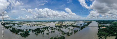 Aerial view of major floods Caused by river overflowing  Resulting in the northe Canvas Print