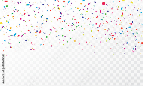 Obraz colorful confetti Celebration carnival ribbons. luxury greeting rich card. - fototapety do salonu