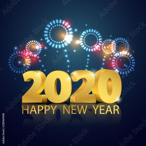 Happy New Year 2020 Background Greeting Card Design Fireworks Template Gold Celebrate Brochure Or Flyer Buy This Stock Vector And Explore Similar Vectors At Adobe Stock Adobe Stock
