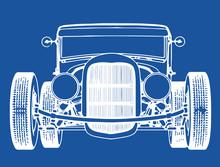 Retro Sport Car Roadster Sketch On Blue Background Vector
