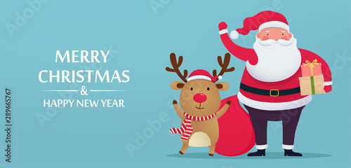 Foto auf AluDibond Logo Cute Santa Claus with deer and gifts, greeting card Merry Christmas and New Year. Holiday winter cartoon characters on blue background.