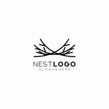 Bird Nest Logo Vector Icon Tem...