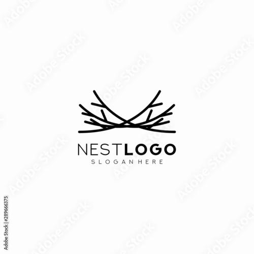 Fototapeta Bird nest logo vector icon template line art outline design obraz