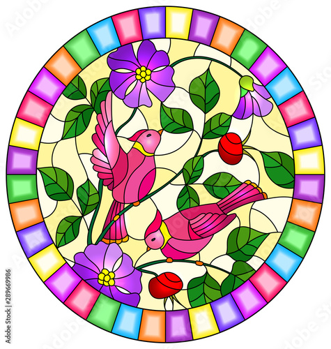 Fototapeta  Illustration in stained glass style with two pink birds on the branches of bloom