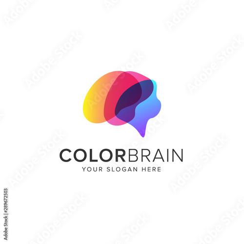 Carta da parati  Color brain logo vector icon