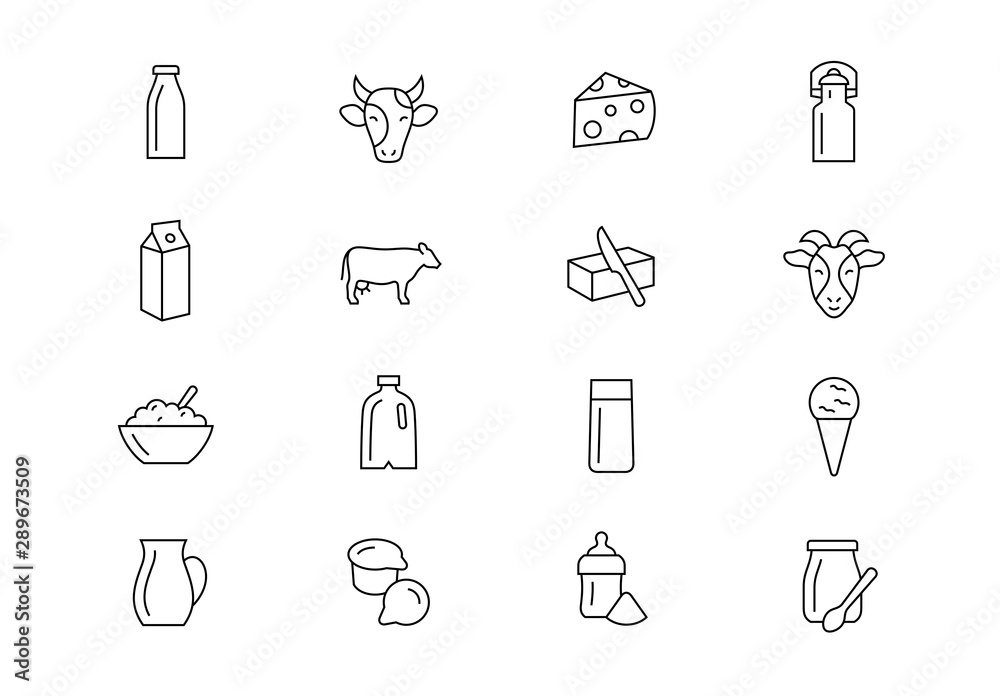 Fototapeta Milk products thin line vector icons. Editable stroke