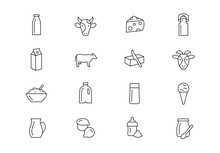 Milk Products Thin Line Vector...