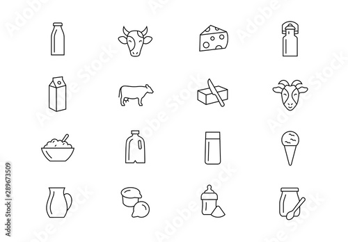 Fotomural Milk products thin line vector icons. Editable stroke