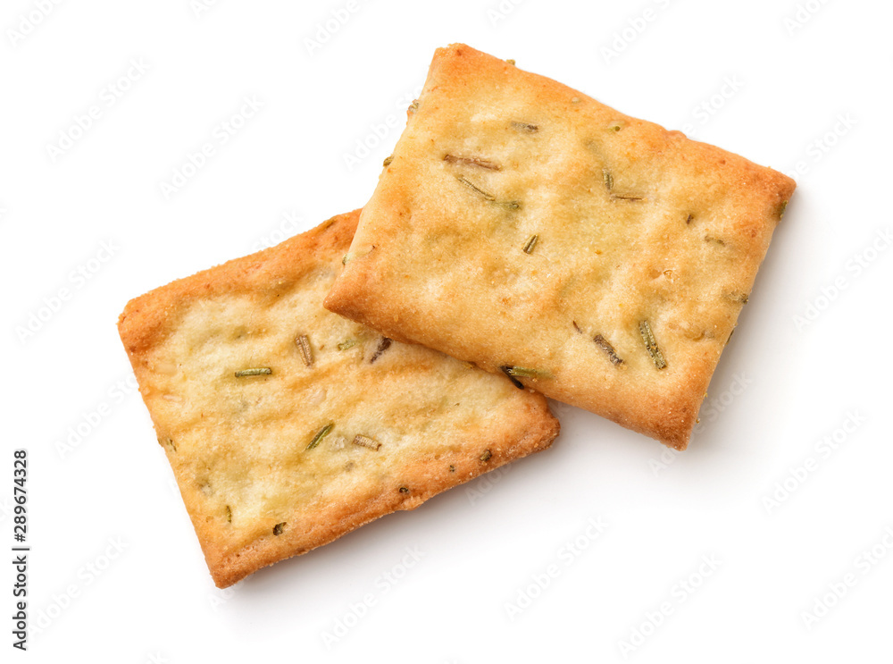 Fototapeta Garlic, rosemary and sea salt crackers