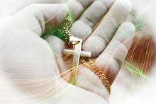 Beautiful Religious Art With Gold Jesus Christ Cross In Palm Of Hand With Gorgeous Canyon Rock Formation & Green Flares High Quality