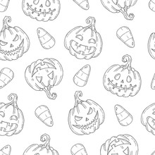 Seamless Pattern With Halloween   Pumpkin Jack And Candy Corn In Sketch Style Isolated On White. Festive Texture For Packages, Backgrounds, Web Pages