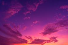 Beautiful Clouds Sky. Sunset Sky. Gradient Sky Pink And Purple.jpg