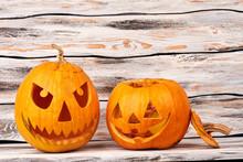 Spooky Halloween Pumpkins On W...