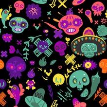 Cinco De Mayo Seamless Pattern With Skulls In Hat Cartoon Vector Illustration.