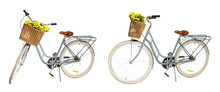 Collage Of Retro Bicycle With Wicker Basket On White Background
