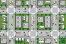City. View From Above. Vector Illustration.