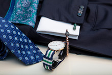 Luxury Men's Clothing Accessories. Blue Collection, Jacket, Cufflinks, Tie And Handkerchief. Father's Day And Valentine's Day Concept.