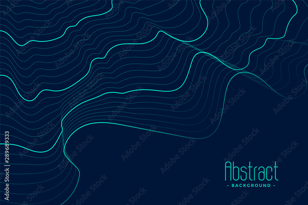 Fototapeta abstract blue background with turquoise contour lines