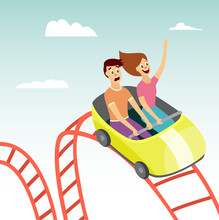 Couple On Rollercoaster Flat Vector Illustration On Amusement Park Background.