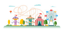 Amusement Park Attractions And Rides Vector Flat Illustrations Isolated On White.