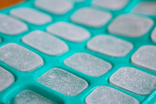 Ice Cubes In Green Silicone Mold
