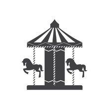 Carousel Silhouette Icon With Horses And Ponies In An Amusement Park.