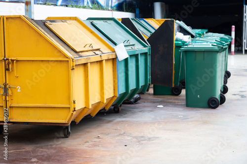 Waste bins are allocated for discarding the waste. Canvas Print