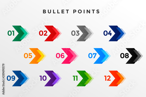 Foto direction number bullet points from one to twelve