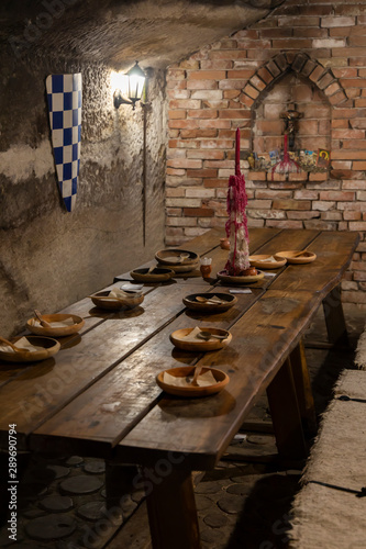 Photo  dishes in a medieval tavern, Hungary