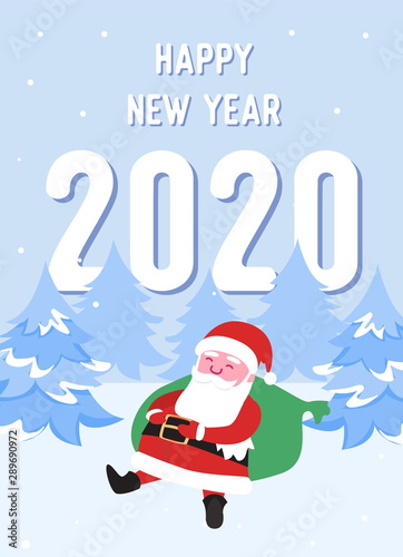 Merry Christmas With Santa 2020 Merry Christmas Postcard with Santa Claus and Gifts. Winter