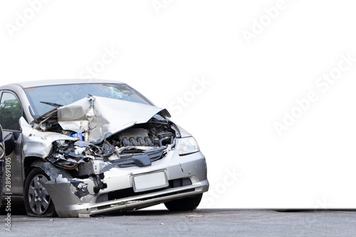 Front of silver car get damaged by accident on the road isolated on white background Wallpaper Mural