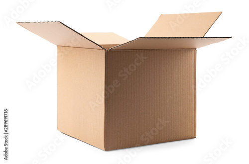 Obraz Open cardboard box on white background. Mockup for design - fototapety do salonu