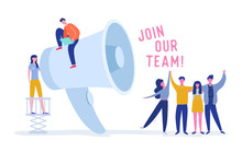 We Are Hiring Concept With Huge Loudspeaker And Business People. Recruitment Agency Interview With Candidates. Human Resources With Megaphone. Vector Illustration